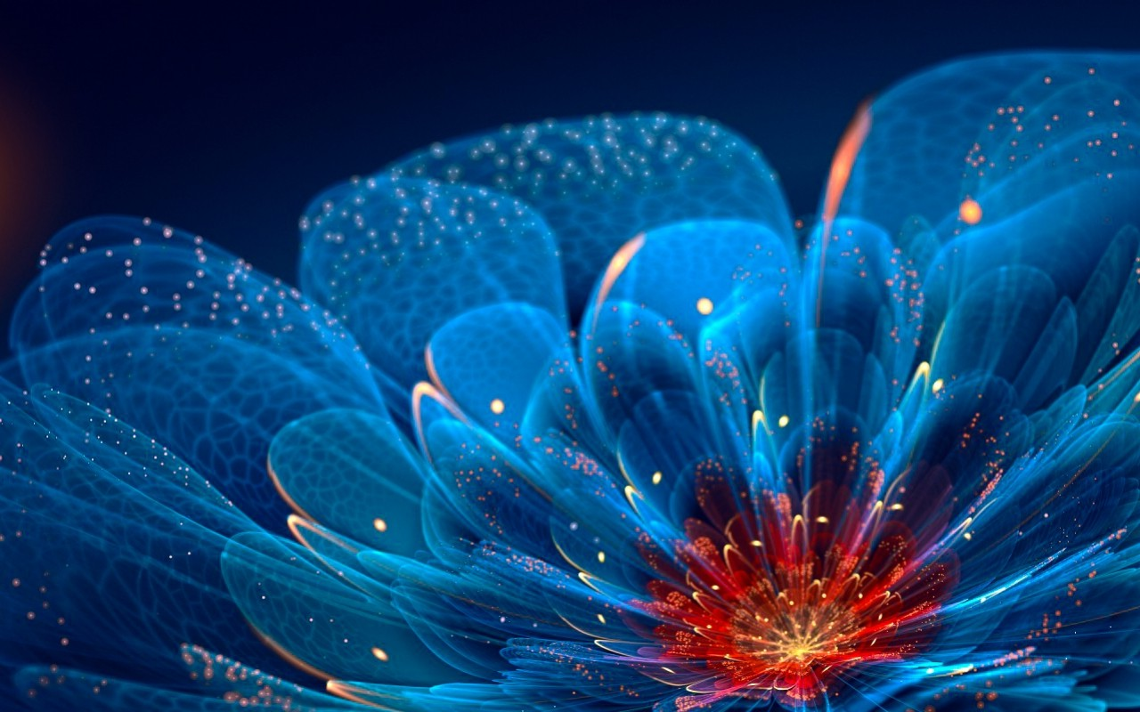 3d Fish Wallpapers For Desktop Abstract Fractal Flowers Blue Flowers Wallpapers Hd