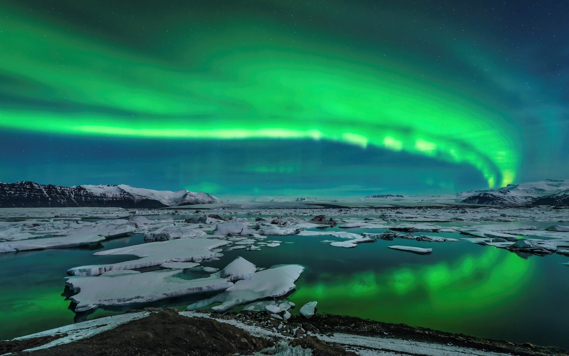 Northern Lights 3d Wallpaper Aurorae Landscape Ice Iceland Wallpapers Hd Desktop