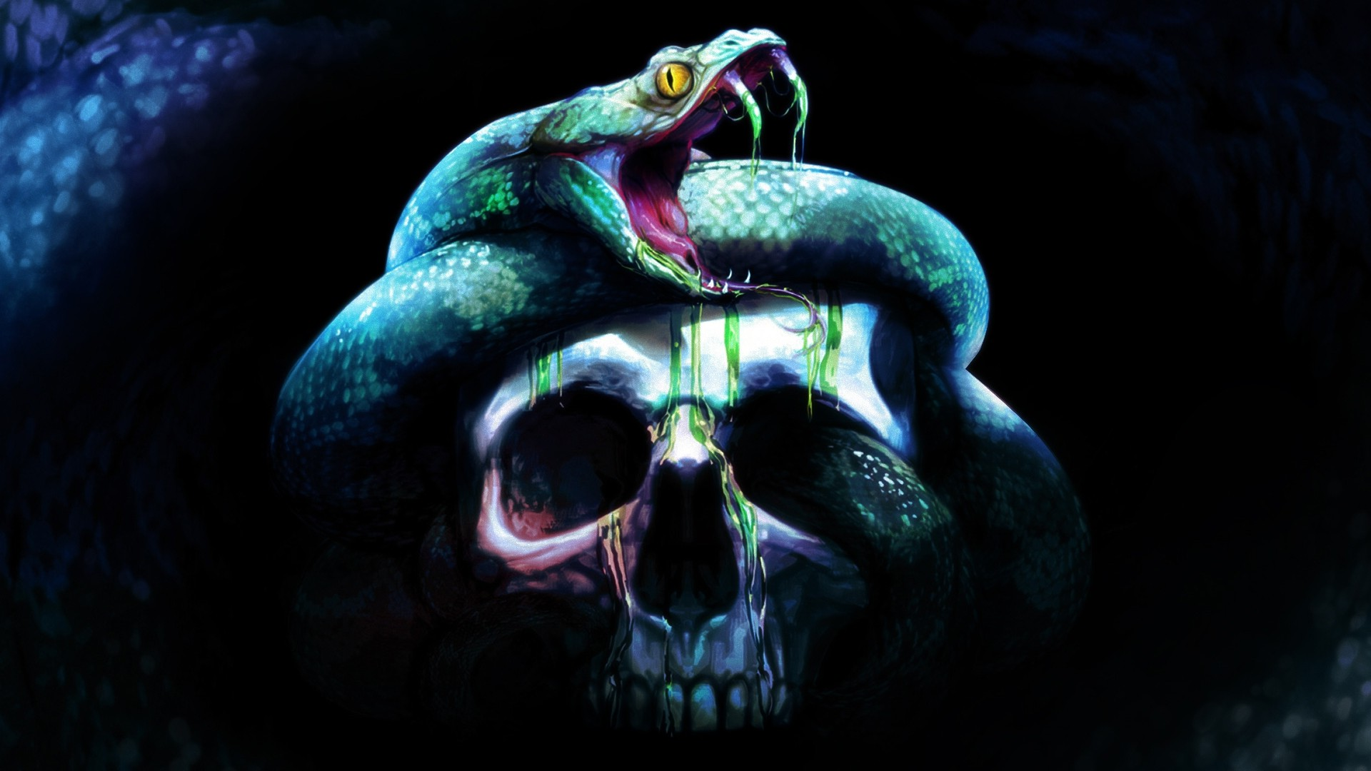Creature 3d Movie Wallpaper Download Digital Art Skull Teeth Snake Animals Dark Wallpapers