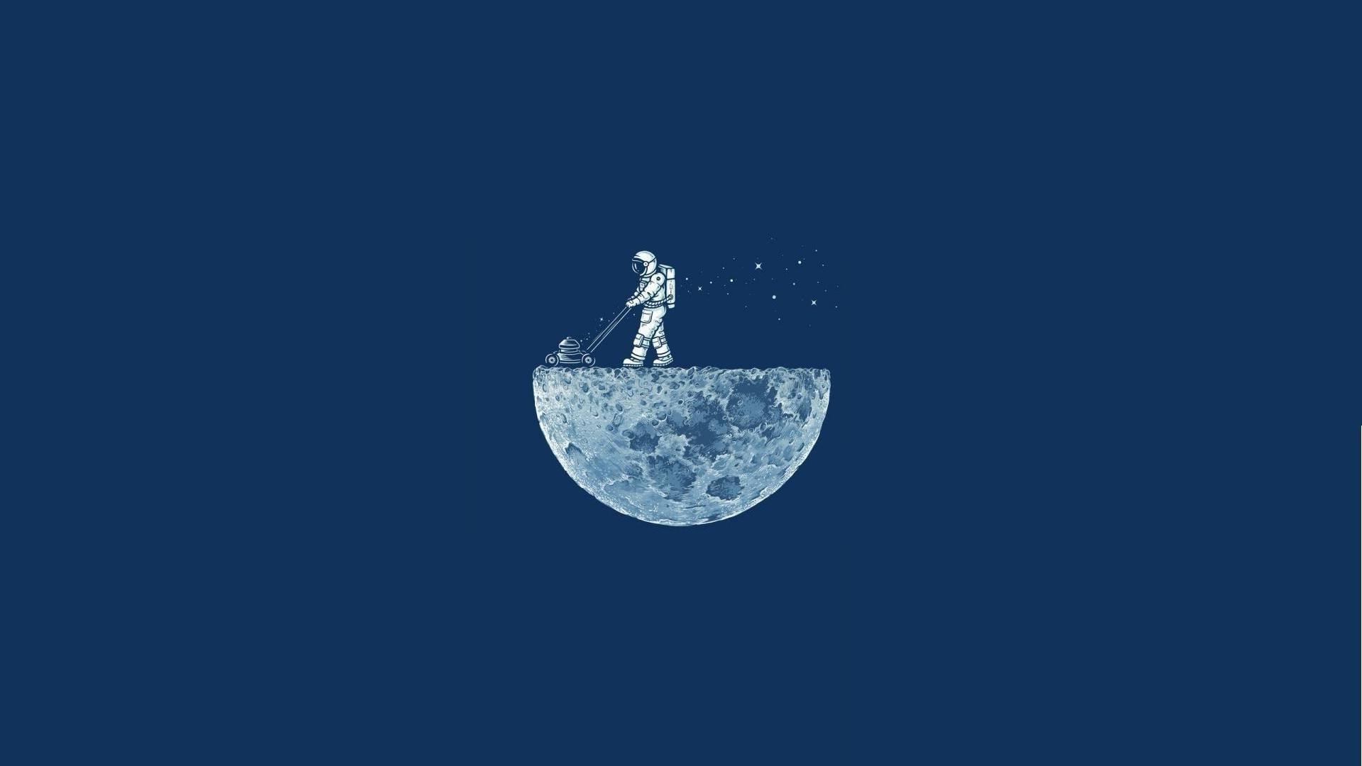 Adventure Time Iphone X Wallpaper Space Minimalism Blue Background Moon Astronaut