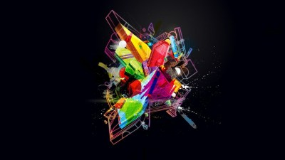 minimalism, Digital Art, Abstract, Colorful, Geometry, 3D, Glowing, Splashes Wallpapers HD ...