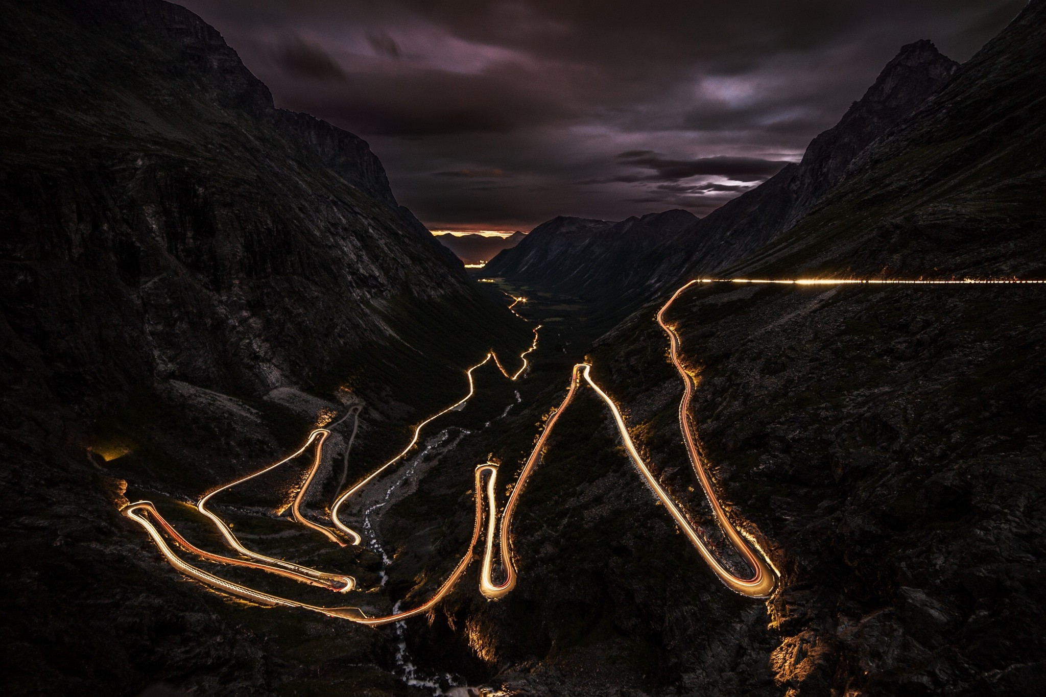 4k Wallpaper 3d National Geographic Road Night Lights Norway Mountain Landscape Long