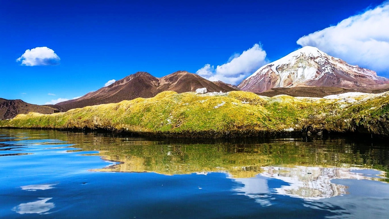 Beautiful Abstract Wallpapers 3d Bolivia Lake Mountain Water Clouds Snowy Peak Nature