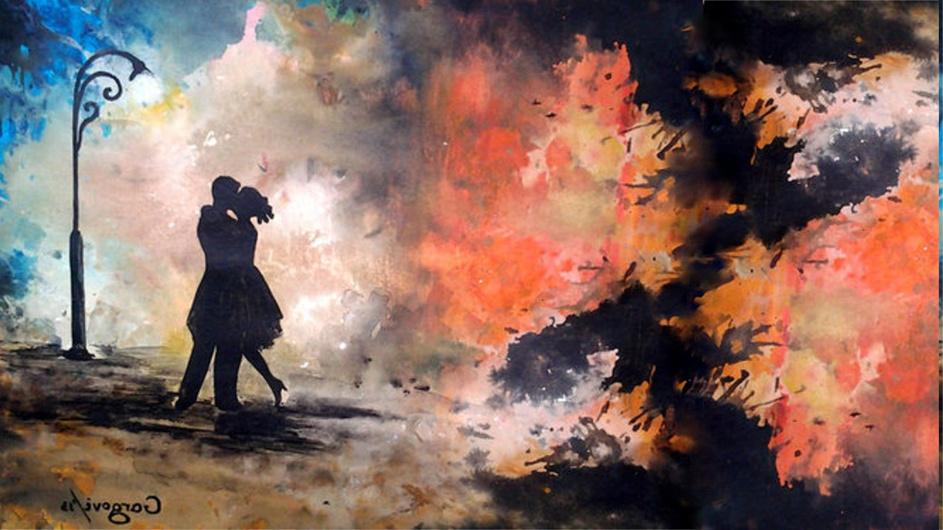 3d Game Wallpaper For Mobile Painting Abstract Kissing Silhouette Wallpapers Hd