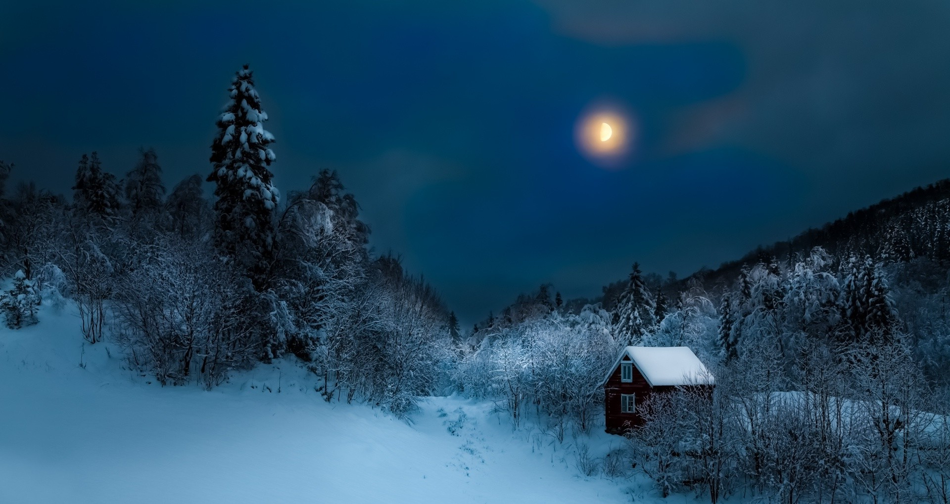 Ghost House Wallpaper Hd 3d Cottage Forest Hill Mist Nature Moon Winter