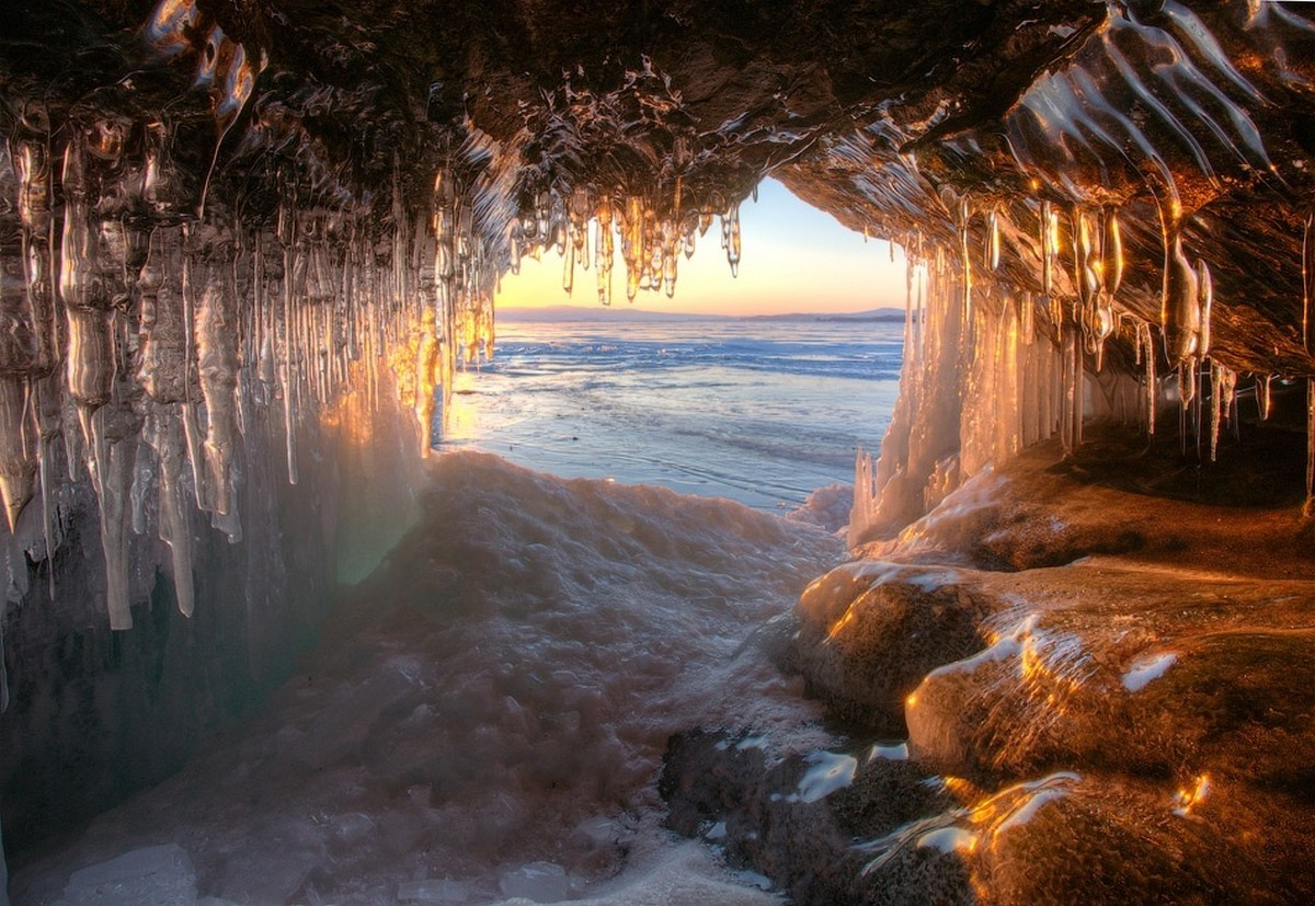 Free Download 3d Desktop Wallpapers Backgrounds Ice Lake Russia Cave Sunset Frost Nature Water
