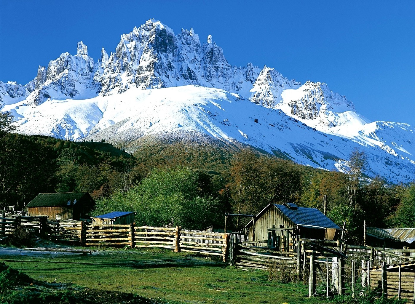 Cars The Movie Wallpapers Free Fence Mountain Trees Grass Snowy Peak Chile