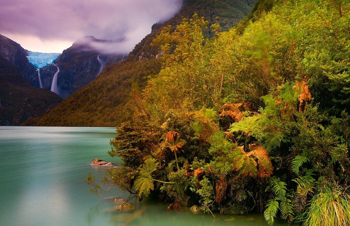 3d Wallpaper Clouds Mountain Chile Lake Forest Ferns Shrubs Waterfall