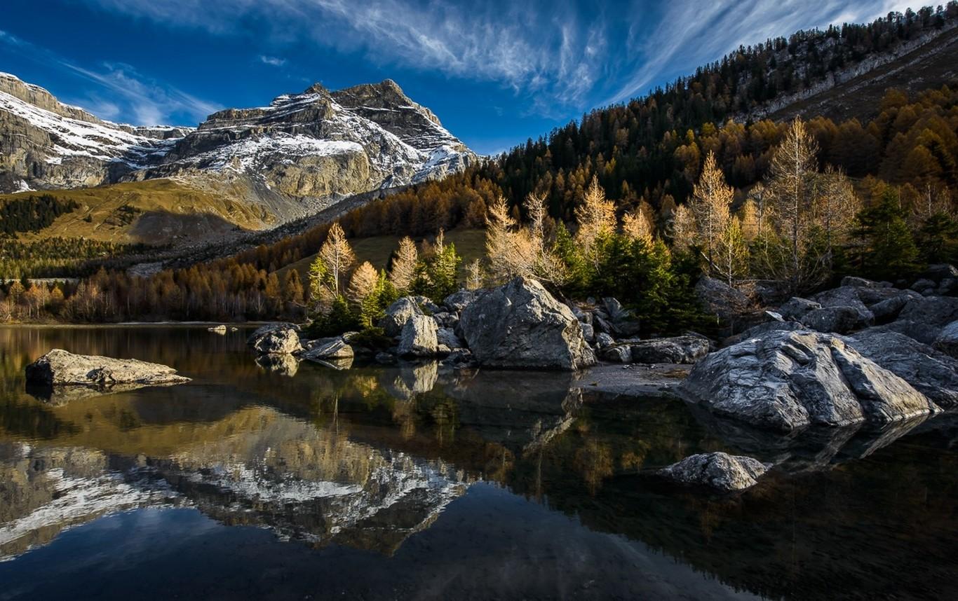 1280x800 Fall Hd Wallpaper Lake Mountain Forest Reflection Switzerland Fall