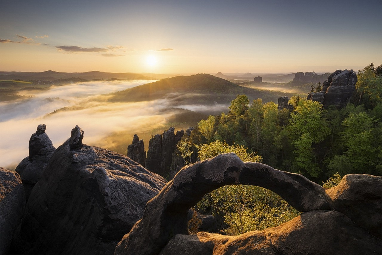 4k Wallpaper 3d National Geographic Mist Sunrise Mountain Germany Forest Rock Nature