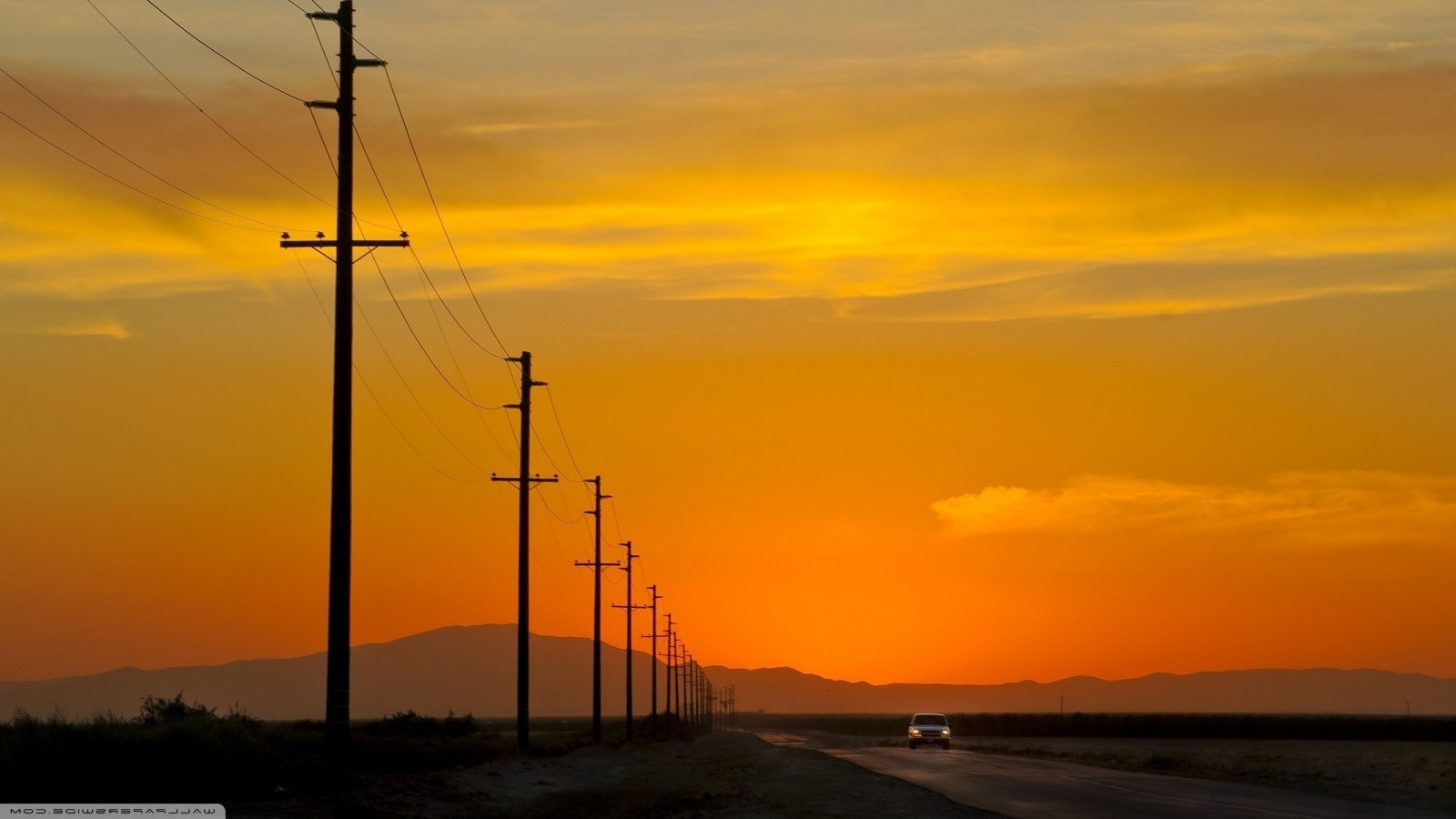 Cosmos Quotes Wallpaper Nature Landscape Power Lines Mountain Sunset Road