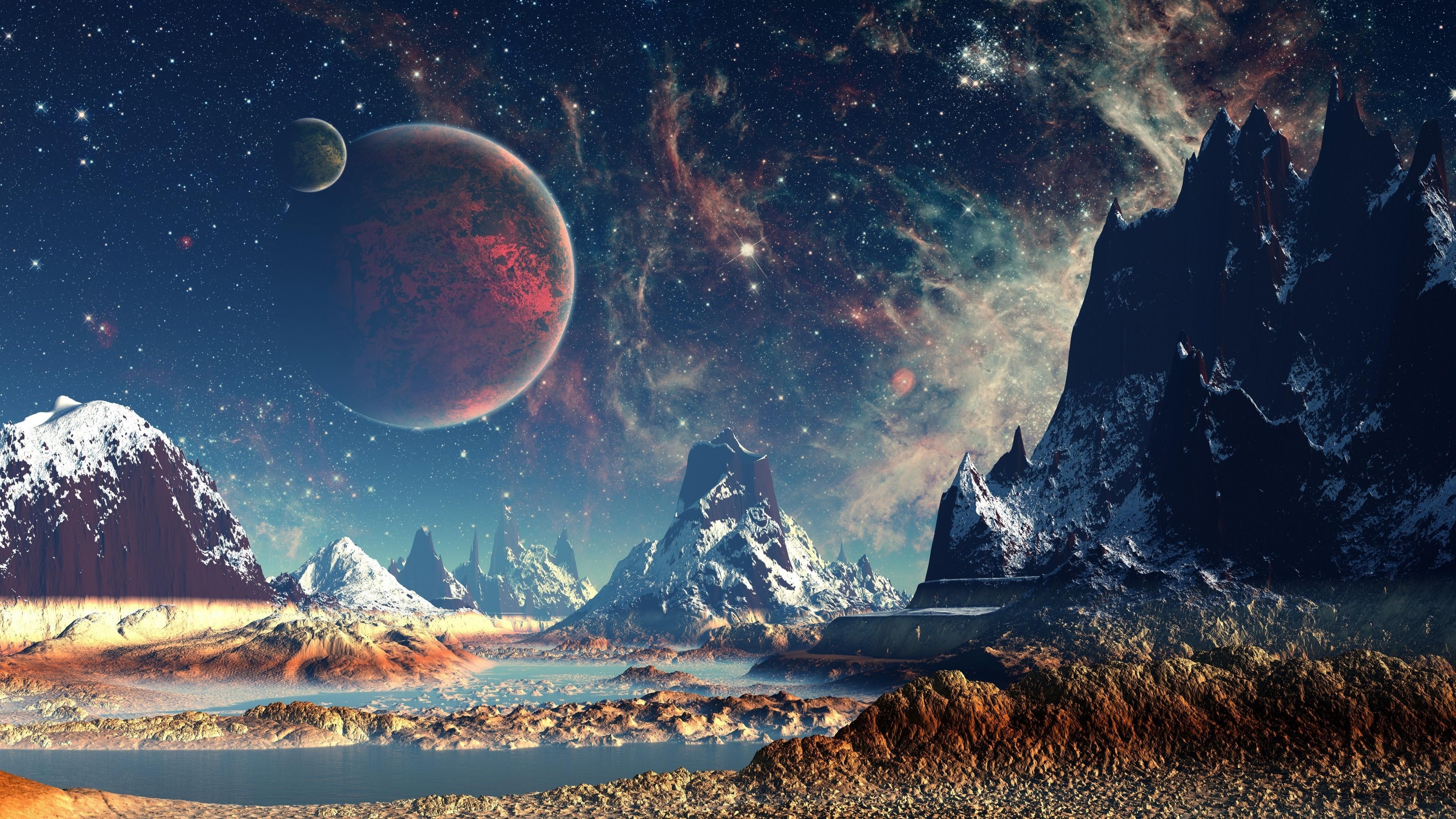 Cosmic Girls Wallpaper Stars Planet Space Mountain Digital Art Artwork