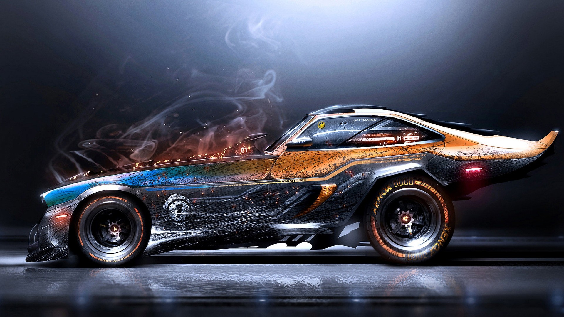Super Car 5760x1080 Wallpaper Artwork Digital Art Car Smoke Super Car Wallpapers Hd
