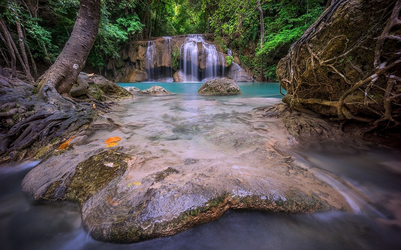 Anime Girls Wallpaper 5760x1080 Nature Landscape Thailand Waterfall Forest Roots