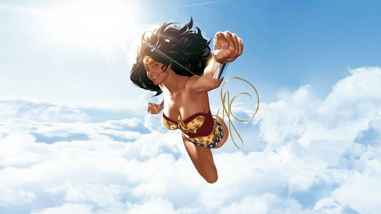 Supergirl Hd Wallpapers 1080p Illustration Wonder Woman Superhero Clouds Dc Comics