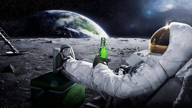 Earth And Moon 3d Wallpaper Moon Space Astronaut Earth Beer Wallpapers Hd
