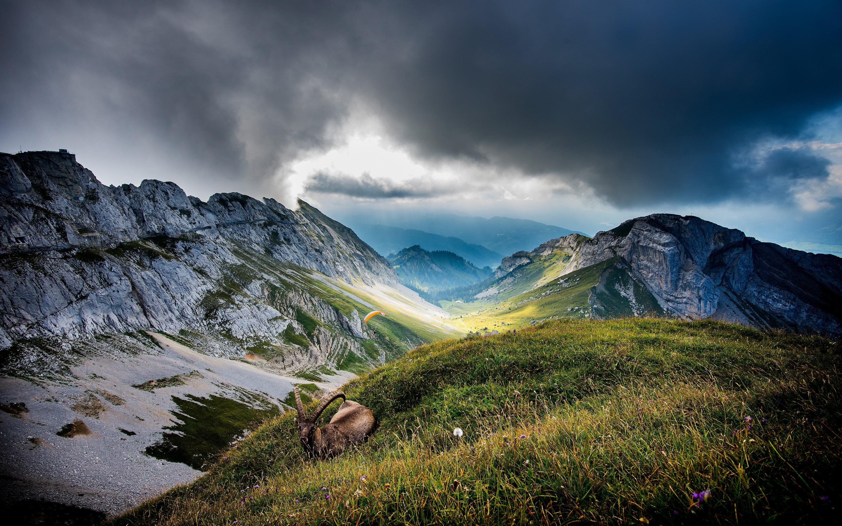 Paragliding Wallpaper Hd Mountain Clouds Ibex Nature Landscape Paragliding