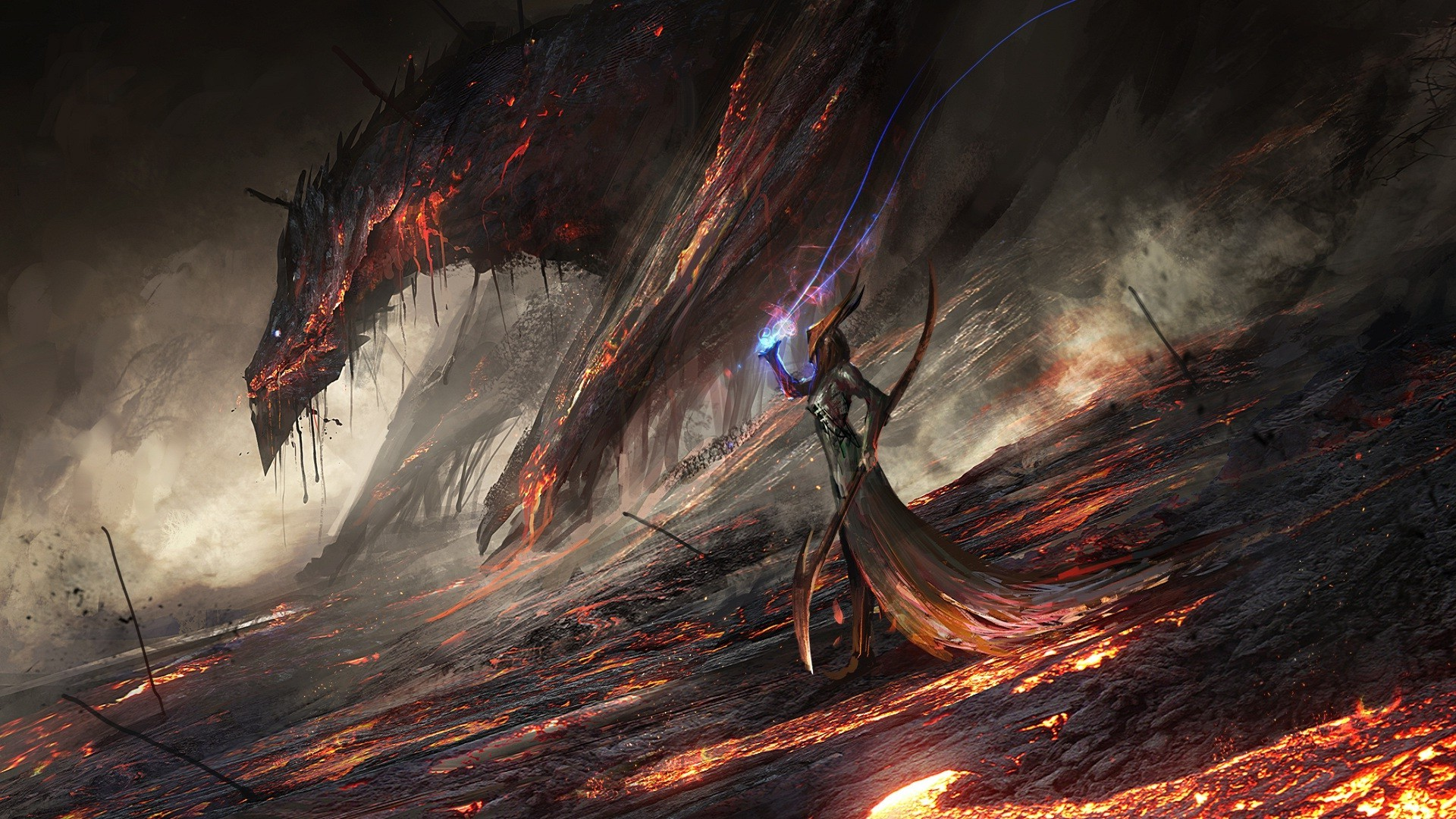 Fantasy World Art Dragon Lava Deviantart Digital Art World Of Warcraft