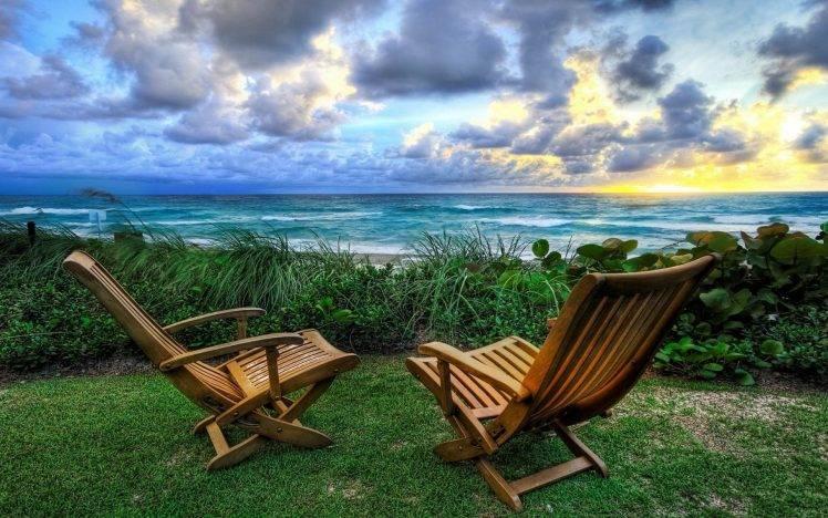 Nature Landscape Chair Beach Lawns Garden Sunset
