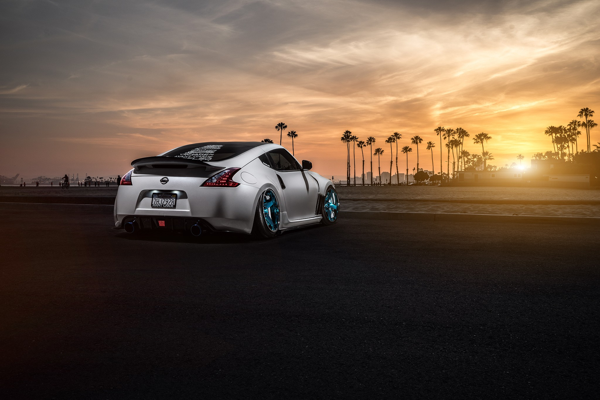 Sports Car Wallpaper 3d Nissan 370z Car Stance Sunlight Palm Trees Wallpapers