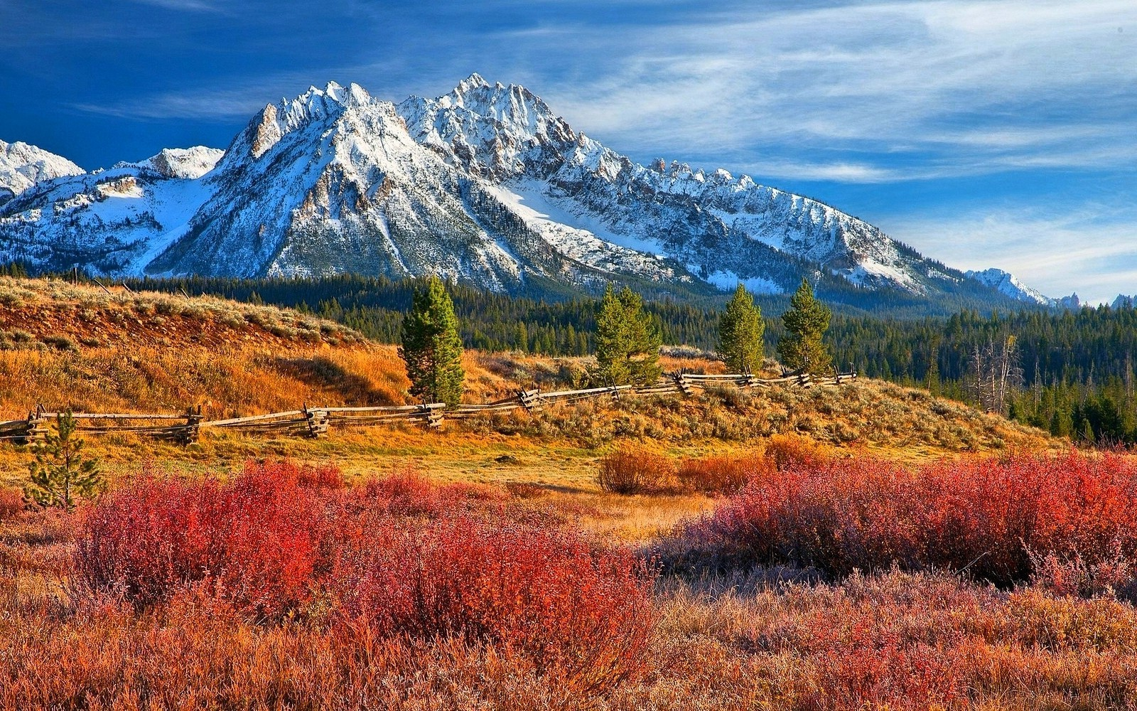Fall Wallpapers For Desktop Idaho Nature Landscape Snowy Peak Forest Grass Mountain