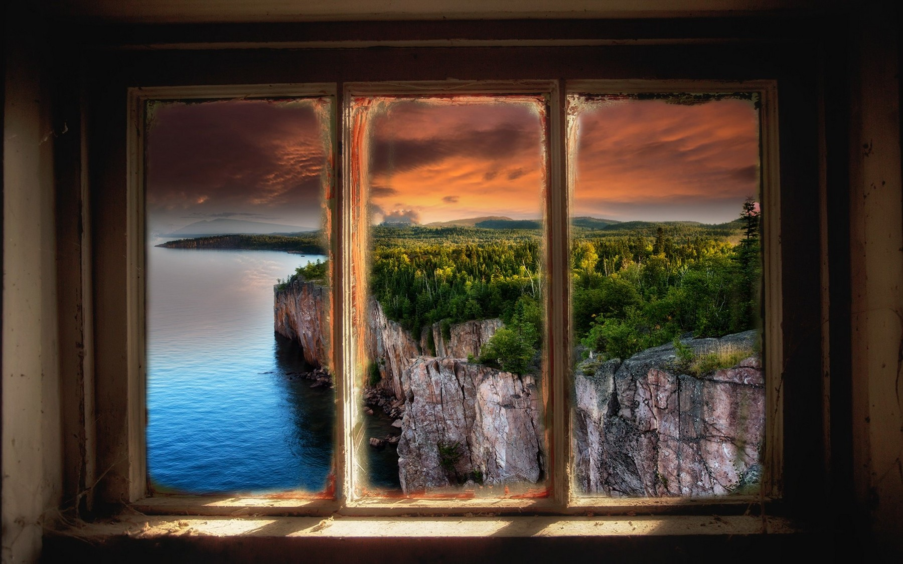 3d Forest Wallpaper Backgrounds Landscape Nature Window Lake Sunset Cliff Clouds