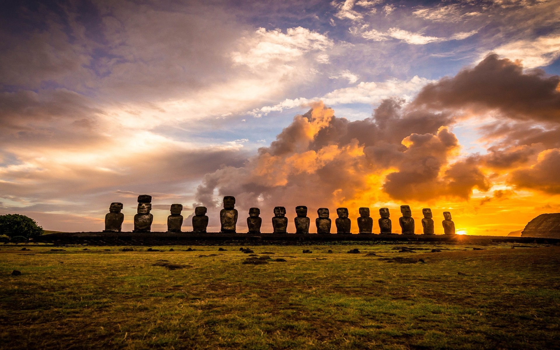 3d Wallpaper Windows 8 1 Landscape Nature Sunrise Rapa Nui Island Clouds