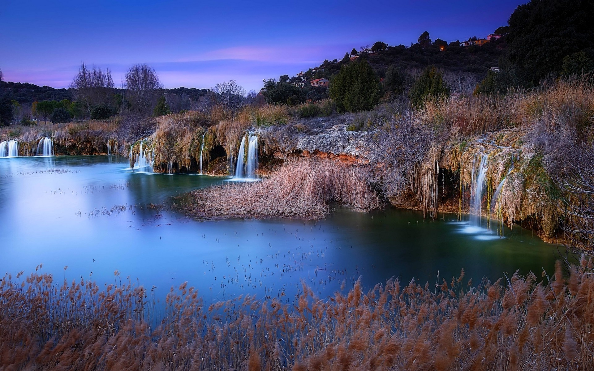 3d Waterfall Wallpaper For Mobile Landscape Nature Evening Lake Waterfall Hill Village