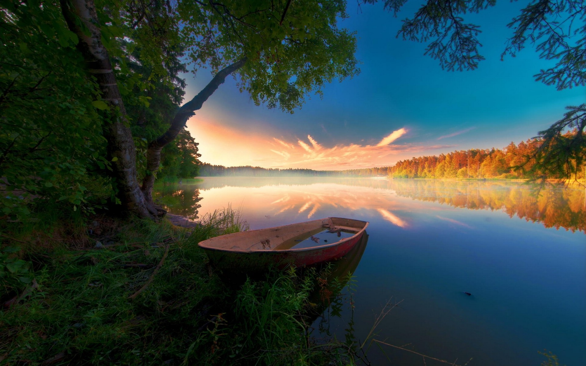 Fall Home Screen Wallpaper Nature Landscape Sunrise Abandoned Boat Forest Fall