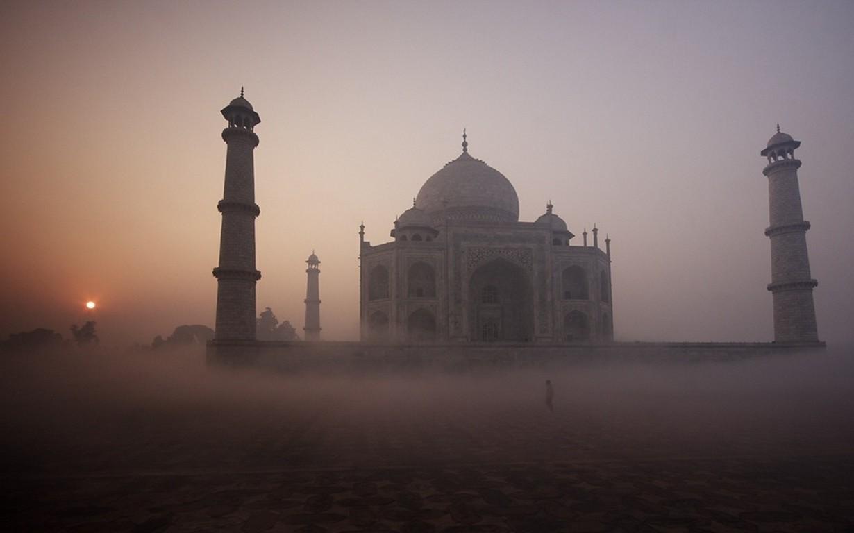 Taj Mahal Hd Wallpaper Landscape Nature Sunrise Taj Mahal Mist Temple India