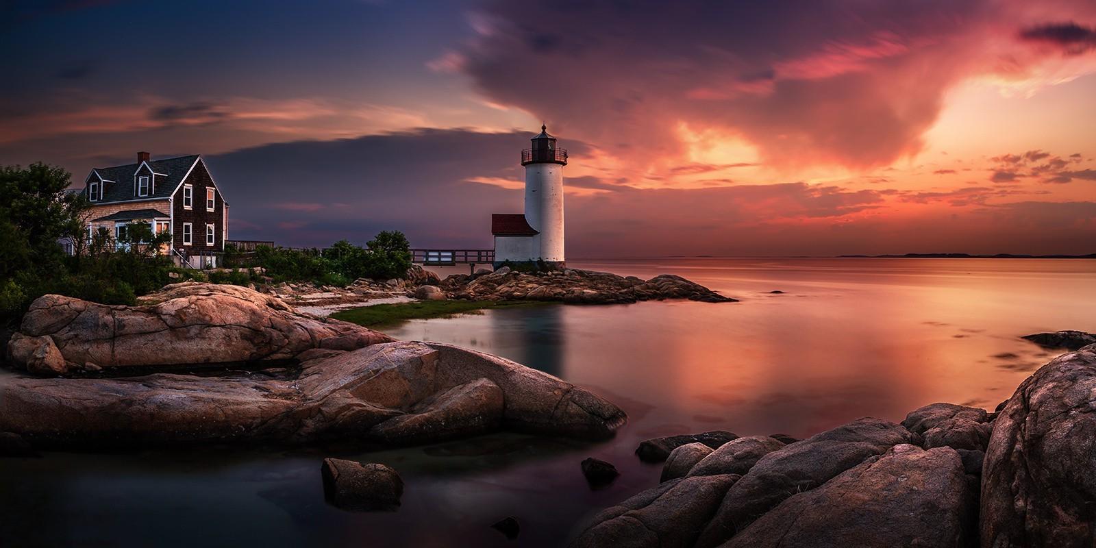 Uhd Wallpapers Fall Nature Landscape Sunset Lighthouse Massachusetts Sky