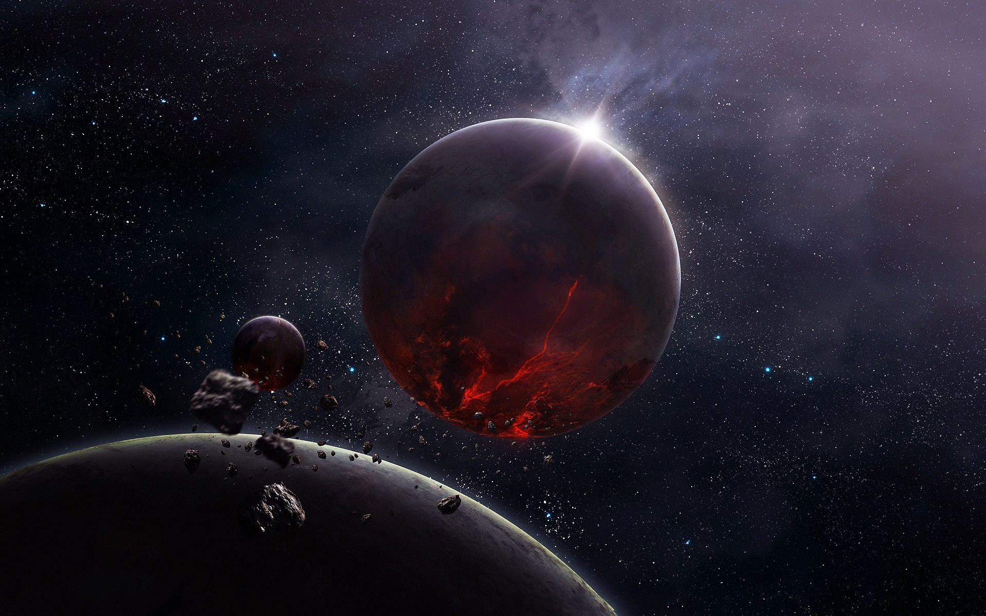3d Asteroid Wallpaper Cg Render Space Planet Moon Stars Asteroid Wallpapers