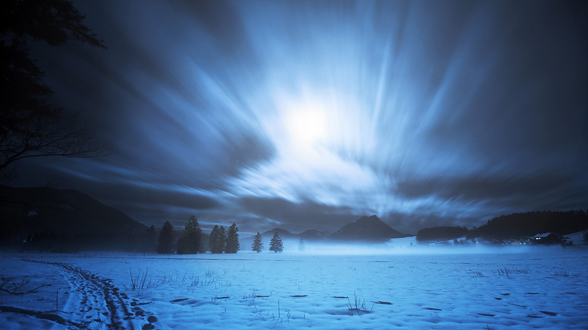 New 3d Desktop Wallpaper Hd 16 Nature Snow Moonlight Landscape Long Exposure Trees