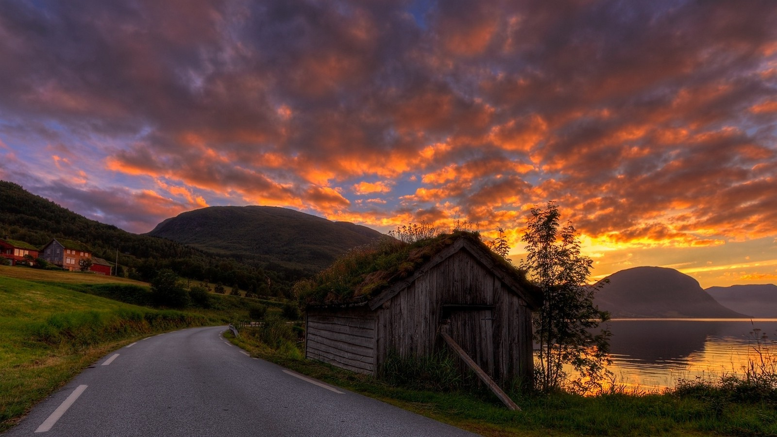 Wallpapers For Country Girls Sunrise Road Hut Sky Clouds Grass Mountain Norway
