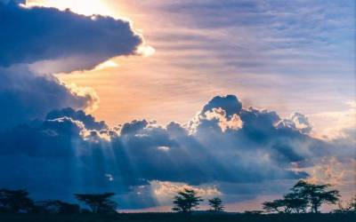 nature, Landscape, Sunset, Clouds, Trees, Savannah, Africa, Sun Rays, Sky, Blue, Space ...