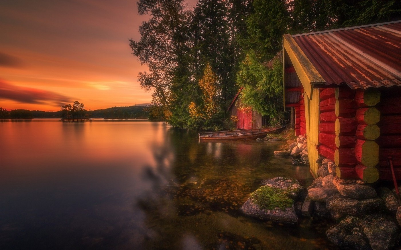 Wallpaper Sunset 3d Nature Landscape Boathouses Lake Trees Norway Fall