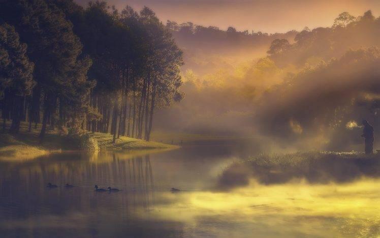 Fall Trees Wallpaper Nature Water Landscape Lake Mist Sunrise Forest