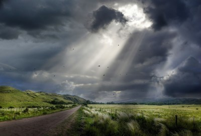 nature, Landscape, Sunbeams, Dirt Road, Clouds, Field, Hill, Sky, Birds, Flying, Fence, Grass ...