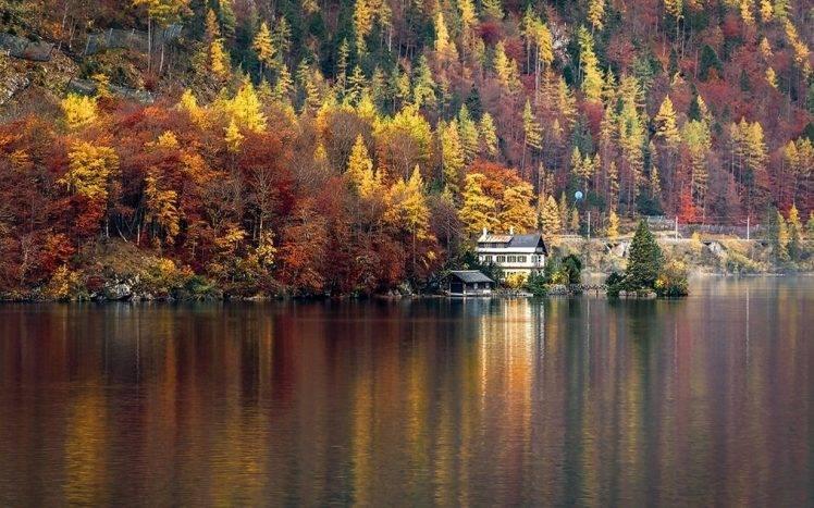 Fall Desktop Wallpaper Full Screen Nature Landscape Lake House Forest Hallstatt Austria