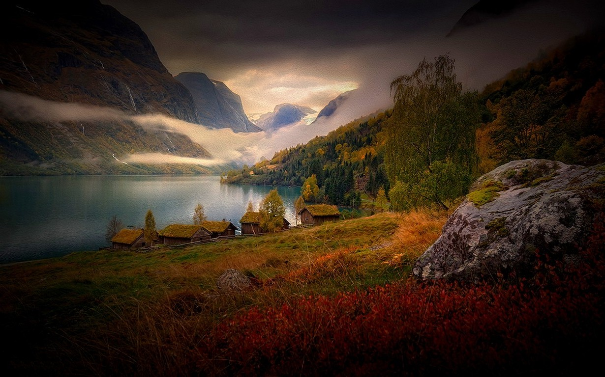 Free 3d Hd Wallpapers For Mobile Nature Landscape Mountain Lake Clouds Cabin Grass