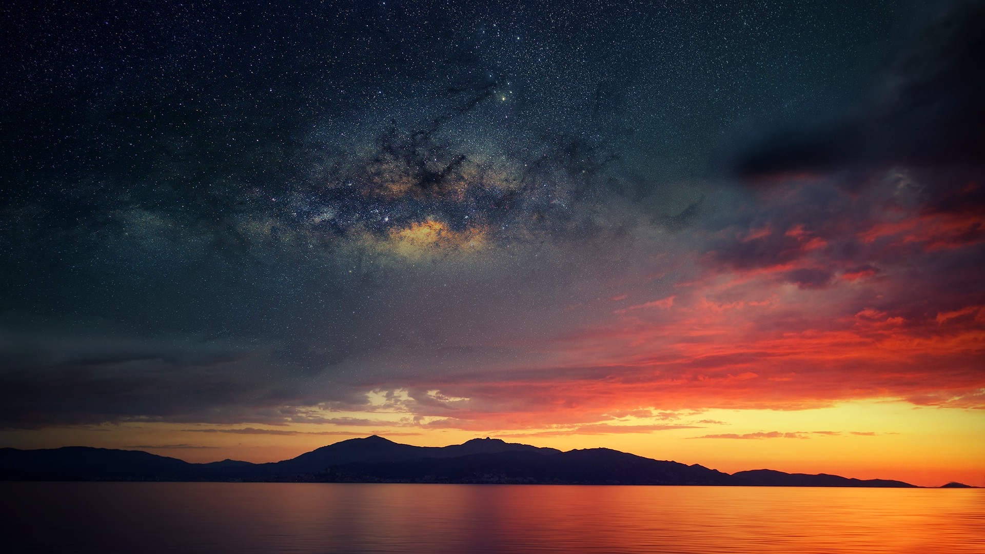 Cosmic Girls Wallpaper Corsica Abstract Space Water Sea Sunset Wallpapers Hd