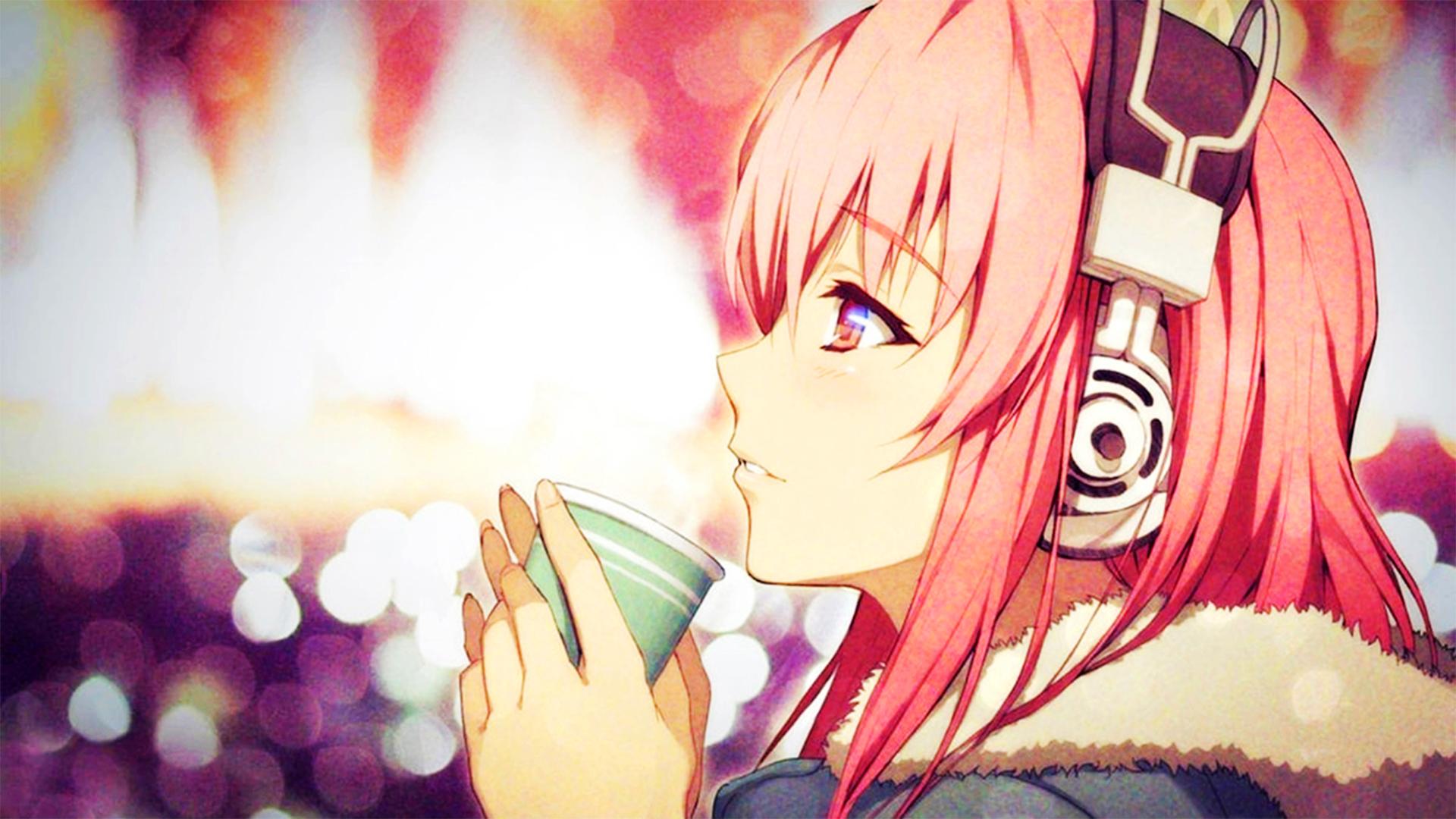 Anime Girl With Headphones Wallpaper Hd Super Sonico Headphones Pink Hair Coats Wallpapers Hd
