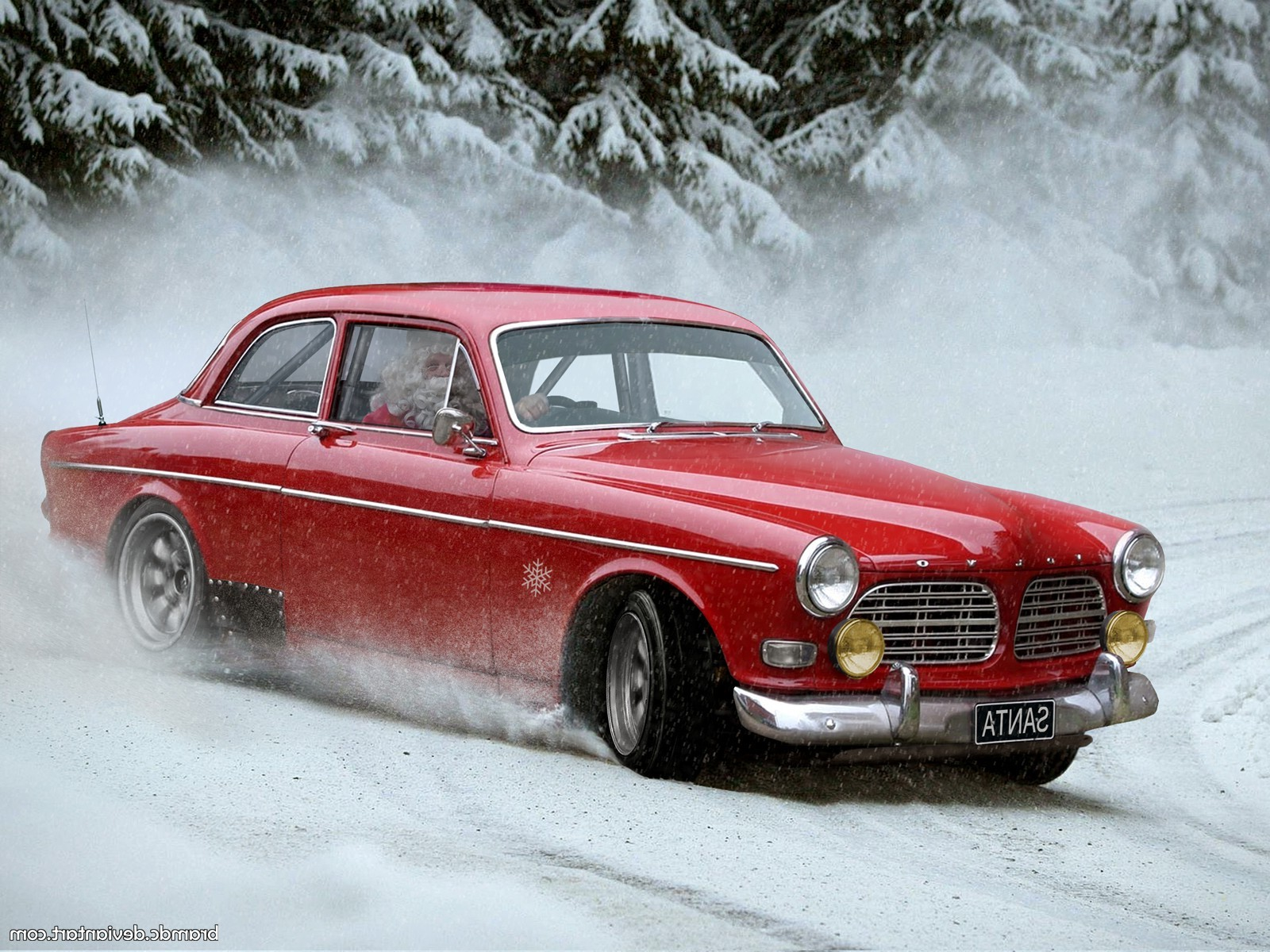 Rally Car Wallpaper Snow Snow Santa Santa Claus Drift Car Volvo Humor