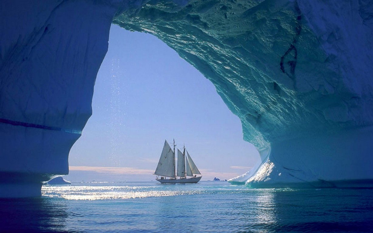 4k Wallpaper 3d National Geographic Nature Landscape Iceberg Sailboats Sea Cave Ice