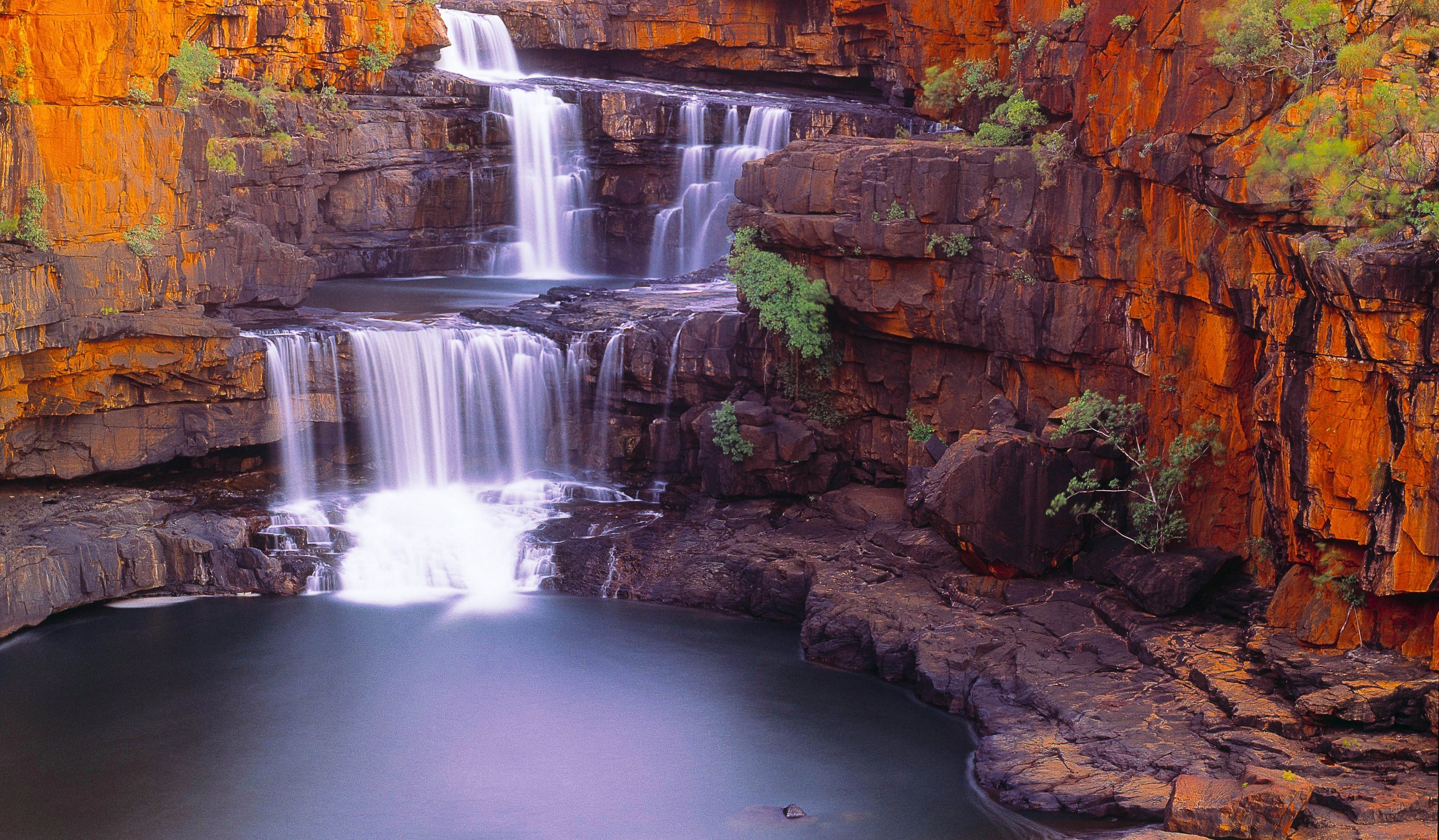 Water Fall Wallpaper Hd For Desktop Free Download Waterfall Nature Pond Rock Shrubs Australia
