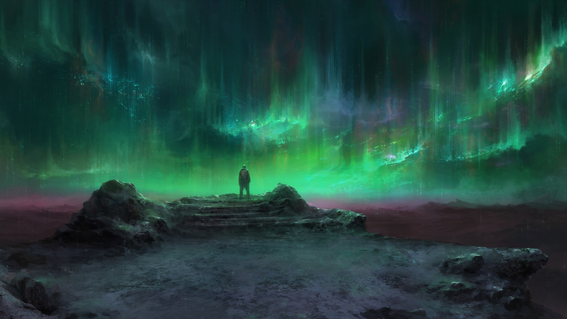 Anime Girls Wallpaper 4k Aurorae Green Landscape Fantasy Art Wallpapers Hd