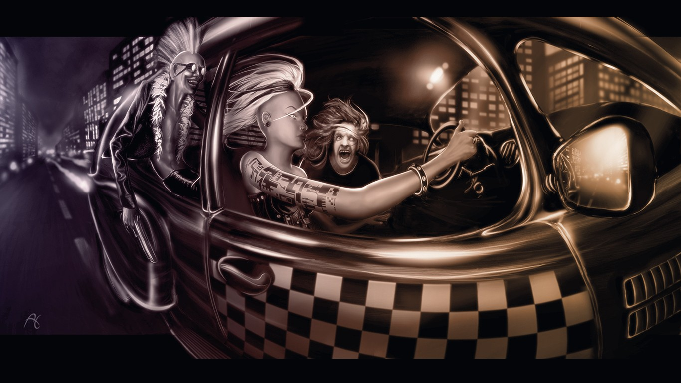 Wallpaper Girls Tatto Hd Car Punk Tattoo Rock Checkered Metal Street Light