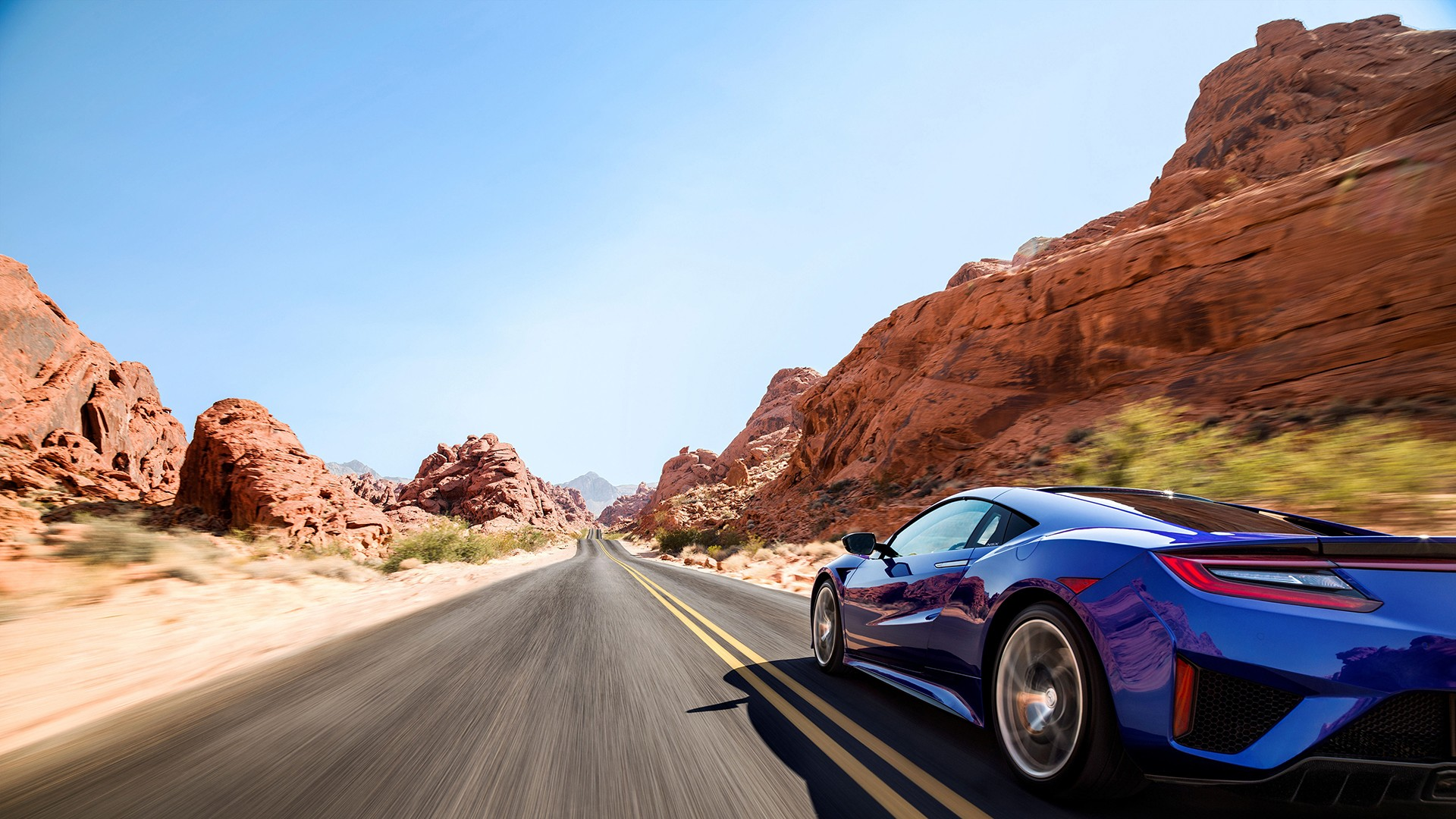 Car Stunt Wallpaper Car Sports Car Blue Road Desert Acura Nsx Wallpapers