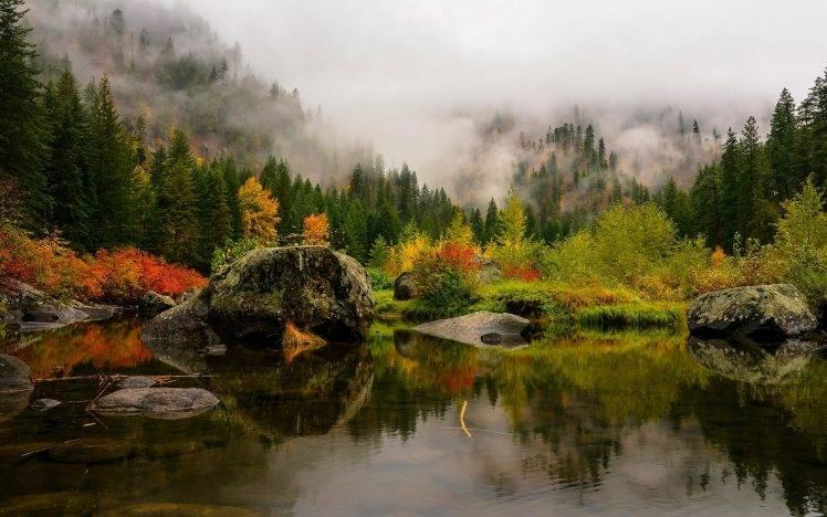 Full Screen Desktop Fall Leaves Wallpaper Nature Landscape Fall Lake Mist Forest Mountain