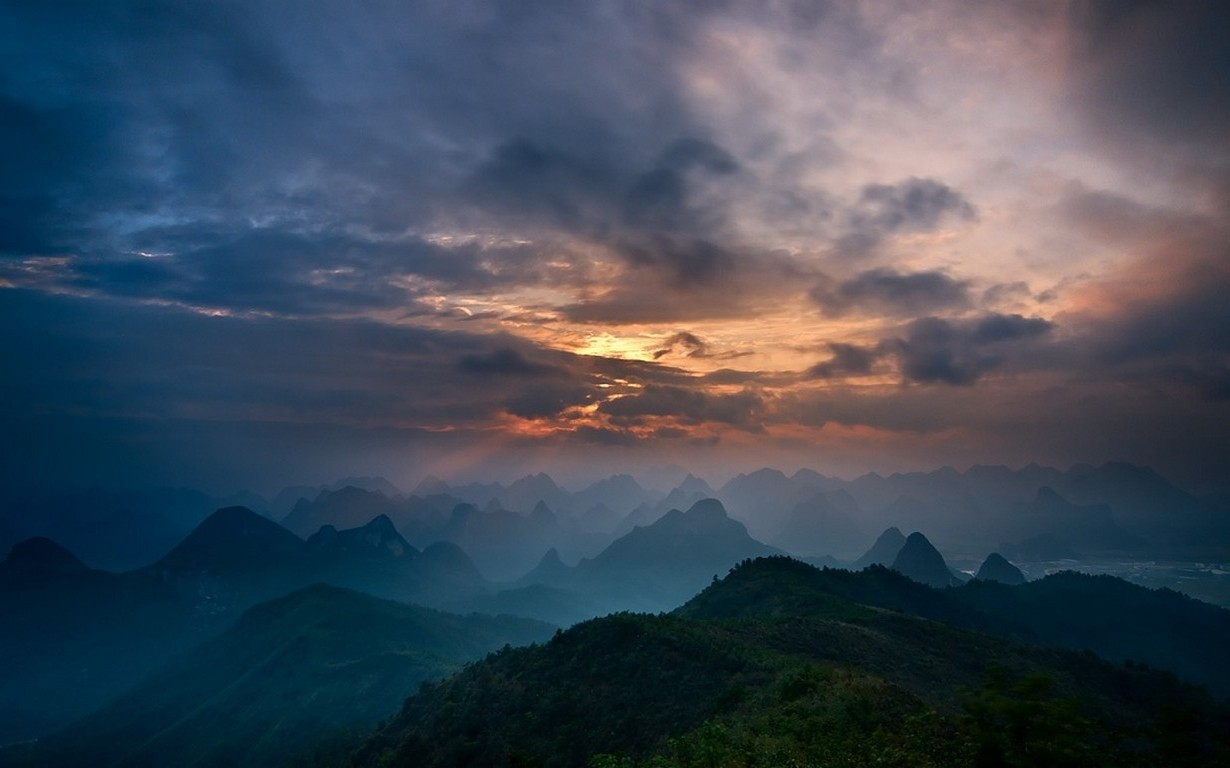 3d Hd Love Wallpapers For Mobile Nature Sunrise Mountain Mist Guilin China Sky